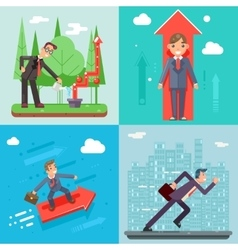 Businessman characters set experienced vector