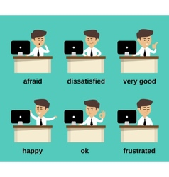 Businessman emotions set vector image vector image