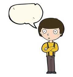 Cartoon staring boy with folded arms with speech vector