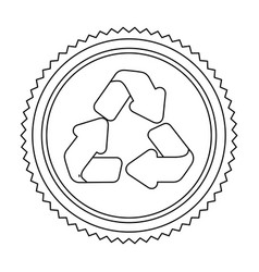 Circular frame contour with recycling symbol vector