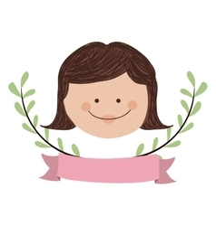 Cute girl icon vector
