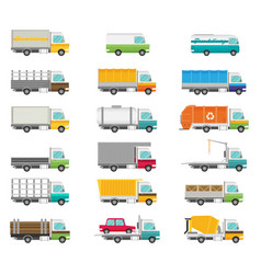 Delivery transport truck van set flat vector