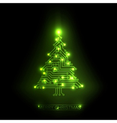 digital christmas tree vector image vector image