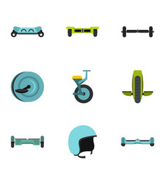 Electric scooter icon set flat style vector