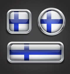 Finland flag glass buttons vector image vector image