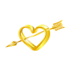 golden heart pierced by cupids arrow vector image vector image