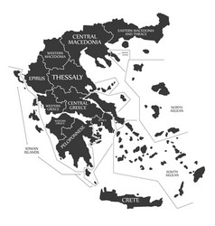 greece map labelled black vector image vector image
