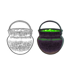 halloween cauldron magic pot with bubbles vector image