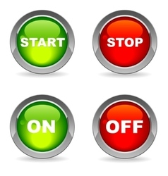 Isolated start and stop on off buttons vector image vector image