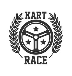 Kart race logotype with steering wheel isolated on vector