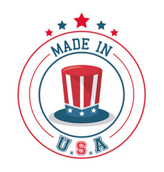 Made in usa top hat flag emblem badge vector