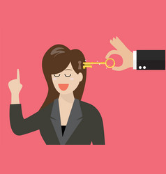 man holding a key unlocking business woman mind vector image vector image