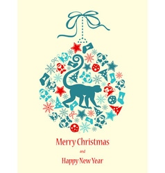 Merry Christmas with monkey in blue-red colors vector image vector image