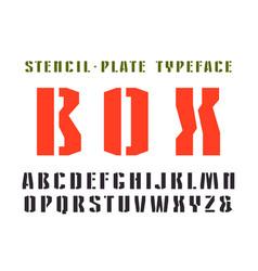 Narrow stencil-plate sanserif font vector