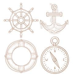 nautical symbols - steering wheel anchor vector image vector image