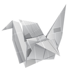 Origami bird on white background vector