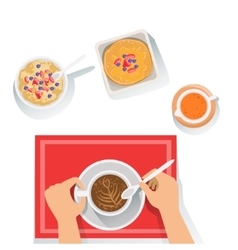 Pancakes porridge and coffee classic breakfast vector