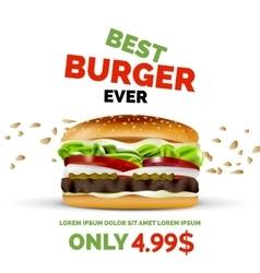 premium burger ad template vector image