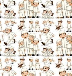 Seamless muslim family in white costume vector