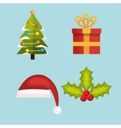 set decoration merry christmas design vector image