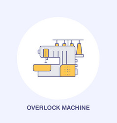 Sewing machine overlock flat line icon logo vector