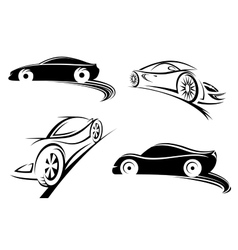 Sports racing car black silhouettes vector image