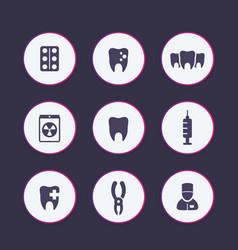 Teeth dental care tooth cavity icons set vector