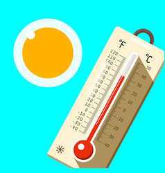 Thermometer with blue sky and sun hot summer day vector