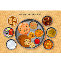 traditional arunachali cuisine and food meal thali vector image vector image