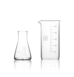 Two chemical laboratory glassware or beaker glass vector