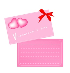 Two Pink Valentine Card with Red Ribbon vector image vector image