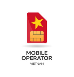 Vietnam mobile operator sim card with flag vector