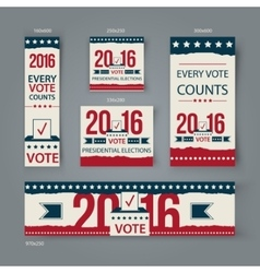 Voting banners set design us presidential vector