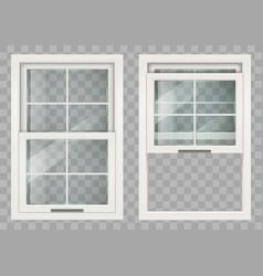 Wooden sliding window vector