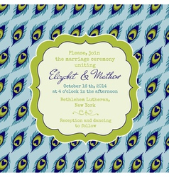 Wedding vintage invitation card - peacock theme vector