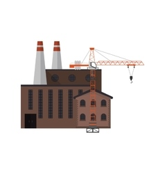 Factory and tower crane icon vector