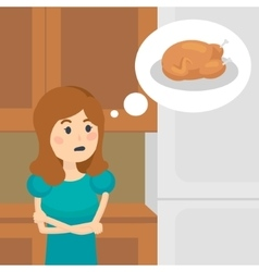 Woman on a diet dreaming of tasty food vector