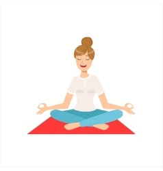 Happy girl doing yoga asana in fitness class part vector