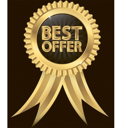 Best offer golden label with ribbons vector image