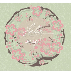 Hello spring may card vector