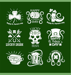 saint patrick symbols and logos set vector image