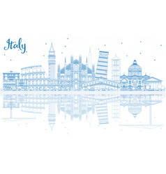 outline italy skyline with blue landmarks and vector image