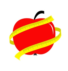 Red apple with yellow measuring tape ruler diet vector