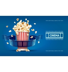 Popcorn for movie theater and vector image
