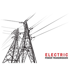 Electric power transmission silhouette vector image