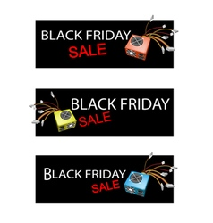 Power supply box on three black friday sale banner vector