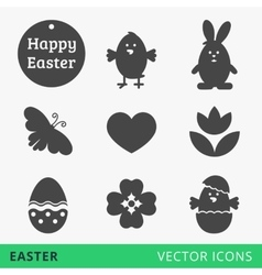 Easter signs web icons vector