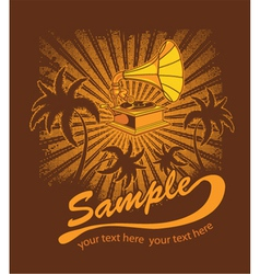 Summer music t-shirt design with gramophone vector