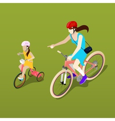 Isometric people isometric bicycle mother vector