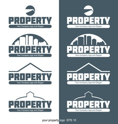 Abstract property logo with buildings and construc vector